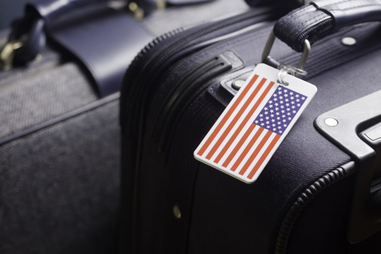 Luggage Identification tag with American flag on suitcaserelated images: